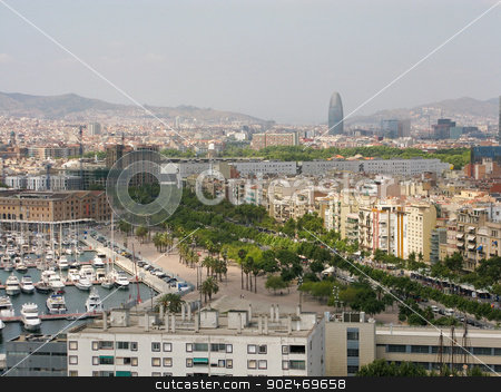 Cityscape of Barcelona stock photo, Cityscape of Barcelona seen from the harbor by Andreas Altenburger