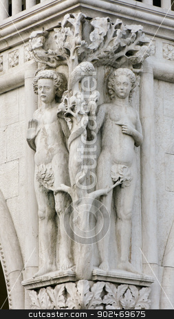 Adam and eve stock photo, Adam and eve at the doge's palace in venice by Andreas Altenburger