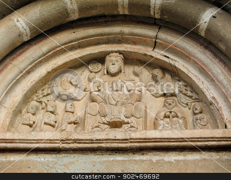romanesque art church portal stock photo, portal of the romanesque church of mura, catalonia, spain by Andreas Altenburger
