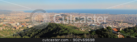 Panorama Barcelona to the north stock photo, Panorama of Barcelona seen towards the sea and the northern part of the city by Andreas Altenburger