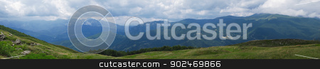 panorama of the dolomites alps stock photo, panoramic view of the dolomites in italy during summer by Andreas Altenburger