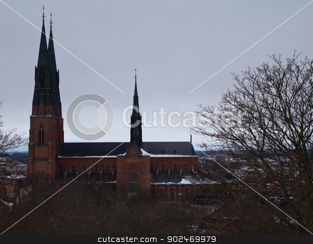 Uppsala cathedral stock photo, Cathedral of Uppsala, Sweden, in winter with trees in foreground by Andreas Altenburger