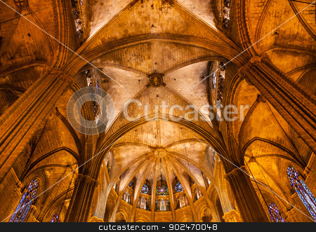 Stone Columns Arches Gothic Catholic Barcelona Cathedral Basilic stock photo, BARCELONA, SPAIN--OCTOBER 19, 2012 Stone Columns Arches Stained Glass Gothic Catholic Barcelona Cathedral Basilica in Catalonia, Barcelona, Spain on October 19, 2012.  Cathedral built in 1298. by William Perry