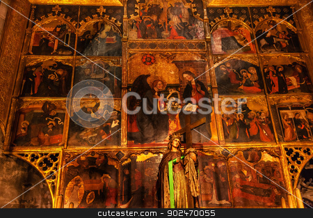 Painted Choir Stall Mary Gothic Catholic Barcelona Cathedral Bas stock photo, BARCELONA, SPAIN--OCTOBER 19, 2012 Painted Choir Stall Mary Gothic Catholic Barcelona Cathedral Basilica in Catalonia, Barcelona, Spain on October 19, 2012.  Cathedral built in 1298. by William Perry
