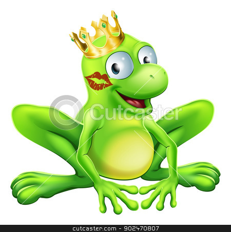 Frog Prince Cartoon stock vector clipart, You have to kiss a lot of frogs to find a prince or princess. A frog wearing a crown with red lipstick on his or her cheek by Christos Georghiou