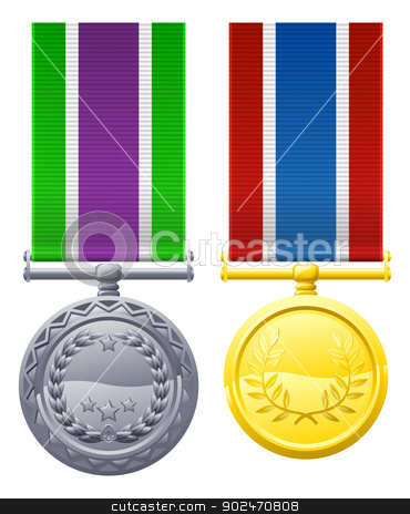 Two metal chest medals and ribbons stock vector clipart, A drawing of two military style chest medals or decorations by Christos Georghiou