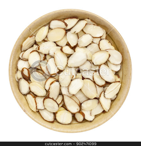 raw sliced almond stock photo, raw sliced almond nuts in a small ceramic bowl isolated on white, top view by Marek Uliasz