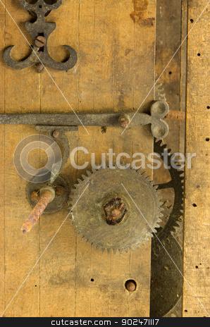 closeup retro wooden clock grunge mechanism gear  stock photo, closeup retro wooden grunge clock box and mechanism gear wheel residue.  by sauletas