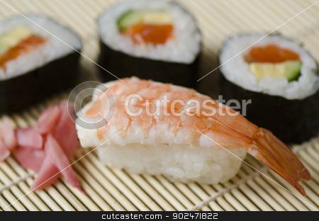 Japanese sushi stock photo, Japanese Cuisine, Sushi Set with shrimp, Nigiri, Maki Sushi and Sashimi by Andreas Altenburger