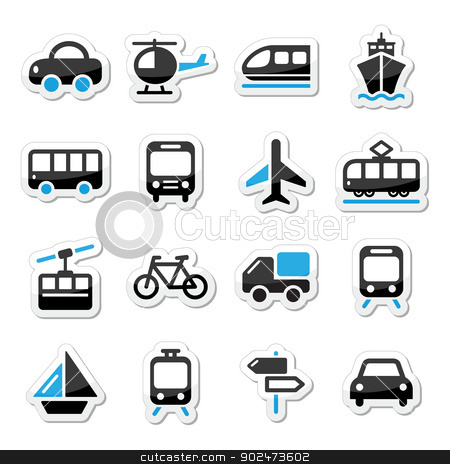 Transport Travel Vector Icons Set Isoalated On White Stock Clipart Black And Blue