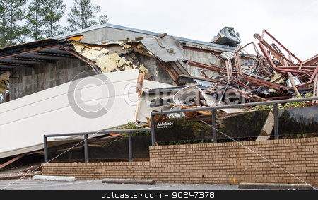 Emergency Room Closed stock photo, An emergency room building after demolition with Ambulance entrance sign intact by Darryl Brooks