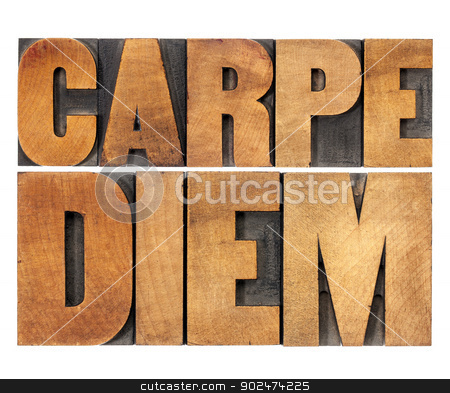 Carpe Diem in wood type stock photo, Carpe Diem  - enjoy life before it is too late, existential cautionary Latin phrase by Horace - isolated text in vintage letterpress wood type printing blocks, scaled to rectangle by Marek Uliasz