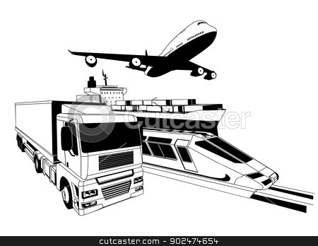 Cargo logistics transport illustration stock vector clipart, A conceptual cargo logistics transport illustration featuring a plane, truck, train and cargo ship by Christos Georghiou