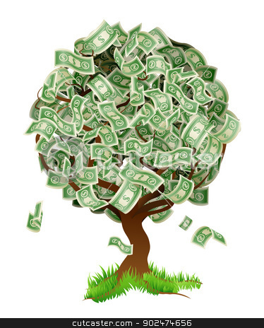 Money Tree stock vector clipart, A conceptual illustration of a tree growing money in the form of dollar notes. Concept for profit or economic growth, earning interest or similar growing your money type theme. by Christos Georghiou