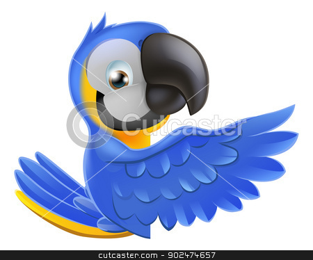 Cute blue and yellow parrot stock vector clipart, A blue and yellow macaw parrot leaning round a sign or banner and pointing his wing at what is written on it by Christos Georghiou