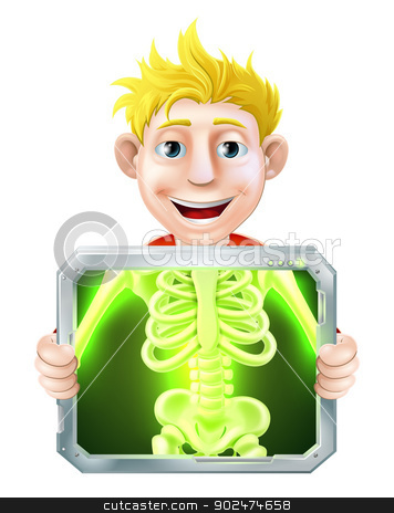 X-Ray Illustration stock vector clipart, Cartoon illustration of a man holding up a screen x-raying him with his skeleton showing. by Christos Georghiou