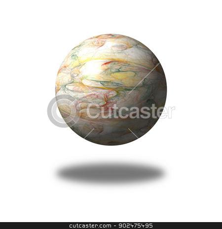 Fractal Gloabe stock photo, Multi color fractal building a globe with shadow. by Henrik Lehnerer