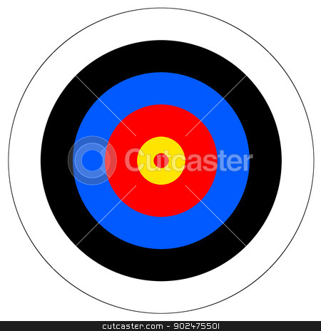 Target stock photo, Target with red yellow black white and blue rings. by Henrik Lehnerer