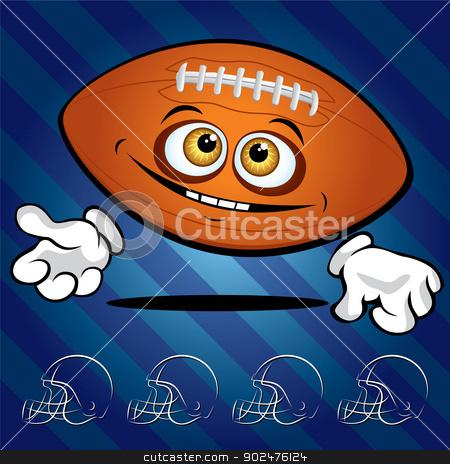 Funny smiling football ball  stock photo, Funny smiling football ball on the dark blue background by Yurkaimmortal