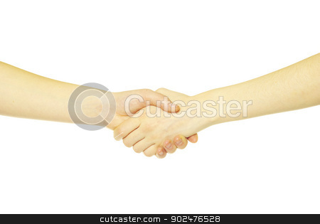 hands  stock photo, closeup of two men shaking hands isolated over white by Vitaliy Pakhnyushchyy