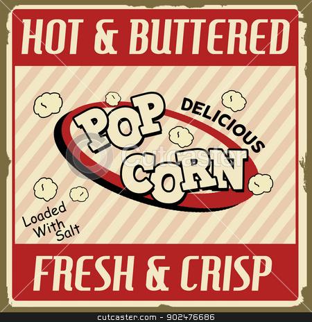 Pop corn vintage poster stock vector clipart, Pop corn  vintage grunge poster, vector illustration by radubalint
