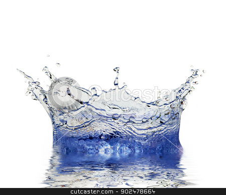 sparks of  water stock photo, Sparks of blue water on a white background by Vitaliy Pakhnyushchyy