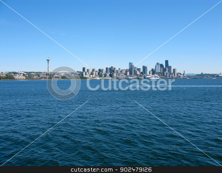 Seattle skyline stock photo, view of the seattle skyline with water, space needle, skyscrapers, pacific northwest by Andreas Altenburger