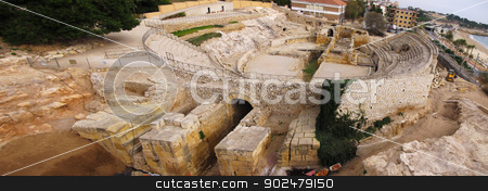 roman amphitheater stock photo, roman amphitheater in Tarragona, Spain, wide angle view by Andreas Altenburger
