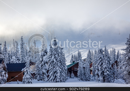 Sking Under the Fog Chairlifts at Snoqualme Pass Washington stock photo, Sking Under the Fog Chairlifts on Snow Mountain at Snoqualme Pass Washington. by William Perry