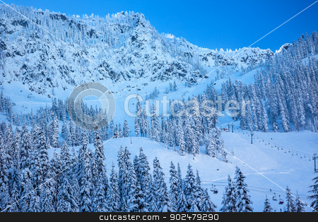Snow Mountain Sking Chairlifts at Snoqualme Pass Washington stock photo, Sking Chairlifts on Snow Mountain at Snoqualme Pass Washington. by William Perry