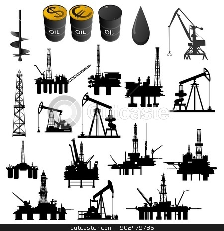 Oil industry stock photo, Oil facilities. Black-and-white illustration on a white background. by Sergey Skryl