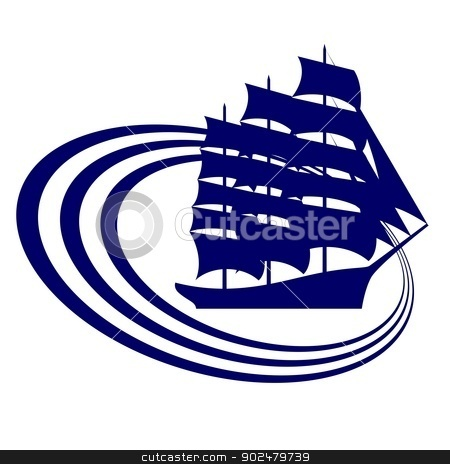 Sailing ship-11 stock photo, The contour of the ancient sailing ship. Illustration on white background. by Sergey Skryl