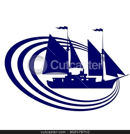 Sailing ship-12 stock photo, The contour of the ancient sailing ship. Illustration on white background. by Sergey Skryl