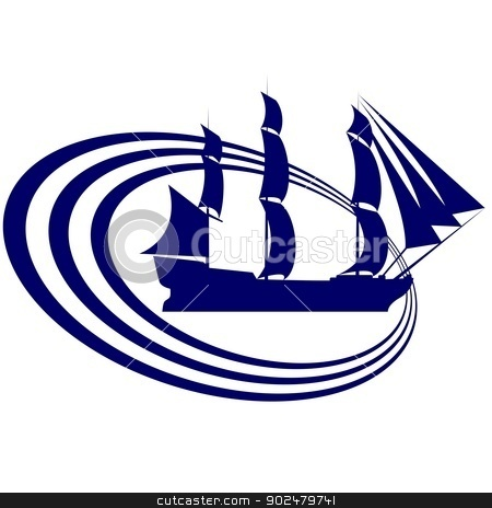 Sailing ship-13 stock photo, The contour of the ancient sailing ship. Illustration on white background. by Sergey Skryl