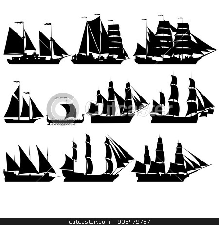 Sailing ships 2 stock photo, The contours of the old sailing ships. Black-and-white illustration on a white background. by Sergey Skryl