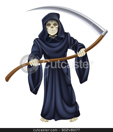 Grim Reaper Death Skeleton stock vector clipart, An illustration of a grim reaper death character holding a scythe by Christos Georghiou