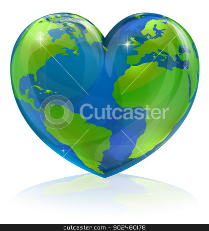 Love the world heart concept stock vector clipart, A conceptual illustration for loving the world, the globe in the shape of a love heart. Could be used for environmental or travel and tourism related themes. by Christos Georghiou