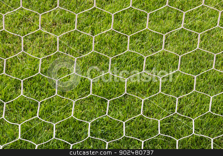 Back side the Goal football stock photo, Back side the Goal at the football field by stoonn