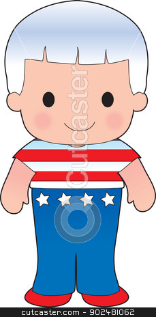 Poppy American Boy stock vector clipart, A smiling, well dressed young lad wears clothing representative of America. by Maria Bell