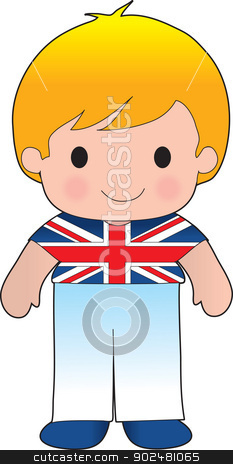 Poppy British Boy stock vector clipart, A smiling, well dressed young lad wears clothing representative of Britain. by Maria Bell