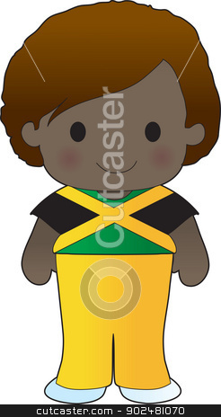 Poppy Jamaica Boy stock vector clipart, A smiling, well dressed young lad wears clothing representative of Jamaica. by Maria Bell