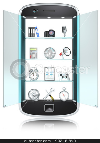 Smartphone.  stock photo, Abstract Smartphone, shelves with 3D icon objects. Frosted Glass Doors. Isolated. by Johan Hedengran