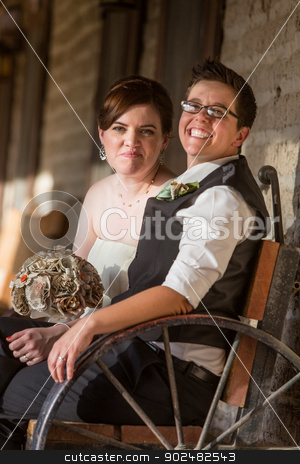 Newlywed Couple on Antique Bench stock photo, Smiling newlywed gay couple sitting on antique bench by Scott Griessel