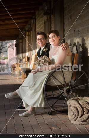 Happy Couple on Bench stock photo, Happy same sex couple in wedding on antique bench by Scott Griessel