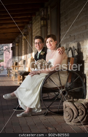 Smiling Ladies on Bench stock photo, Smiling pair of married women together on rustic bench by Scott Griessel