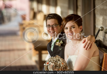 Cheeful Gay Couple stock photo, Cheerful Caucasian gay female couple sitting together by Scott Griessel