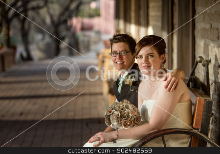 Same Sex Bride and Groom stock photo, Smiling same sex bride and groom seated together by Scott Griessel