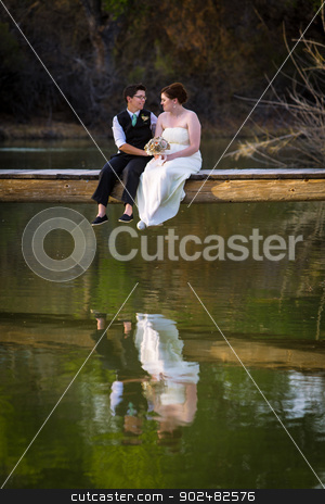 Couple By The Lake stock photo, Affectionate lesbian couple sitting on dock above lake by Scott Griessel