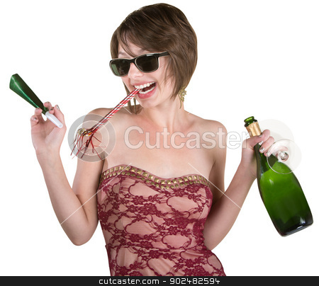 Party Girl with Wine and Kazoo stock photo, Female party girl with kazoo and wine bottle by Scott Griessel