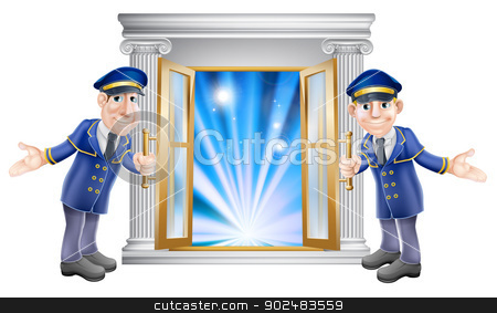 VIP doormen and entrance door stock vector clipart, An illustration of two VIP doormen characters holding open a door at the entrance to a venue or hotel by Christos Georghiou